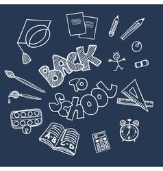 Back to school supplies doodles vector image
