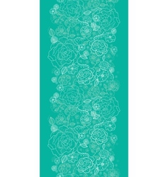 Emerald green floral lineart vertical seamless vector image vector image