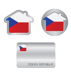Home icon on the Czech Republic flag vector image
