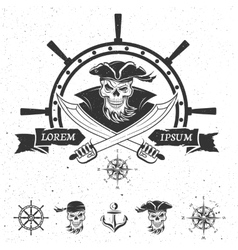 Pirate emblem and design elements vector image vector image