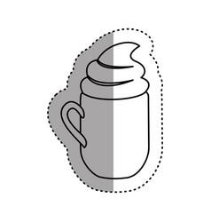 sticker silhouette mug of cappuccino with cream vector image vector image