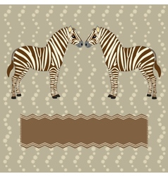 Zebra card with flower stripes vector image vector image