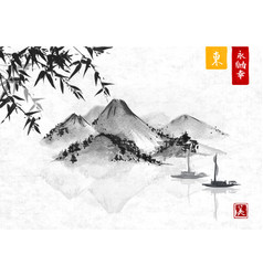 bamboo fishing boat and island with mountains vector image vector image