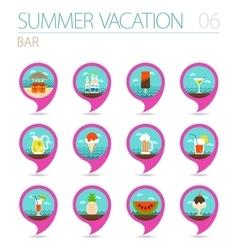 Bar beach pin map icon set Summer Vacation vector image vector image