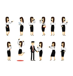 Characters set isolated business woman and man vector image vector image