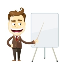 funny cartoon businessman presenting or showing vector image vector image