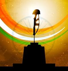 Indian flag with amar jyoti vector