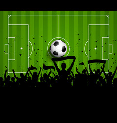 Soccer football crowd on a green pitch background vector