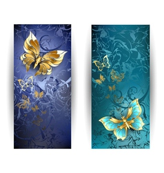 Two Banners with Gold Butterflies vector image