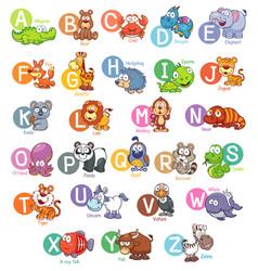 Animal english alphabet vector