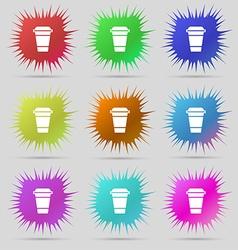 coffee icon sign A set of nine original needle vector image
