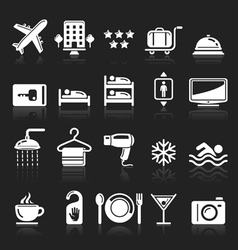 Hotel white icons set vector image