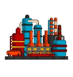 Industrial factory or plant with pipes vector image