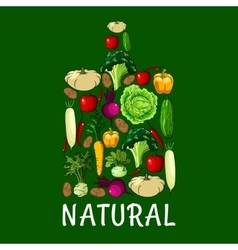 Natural healthy vegetables cutting board icon vector image