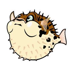 puffer fish cartoon vector image vector image