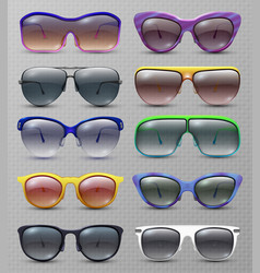 realistic fashion sunglasses and glasses isolated vector image