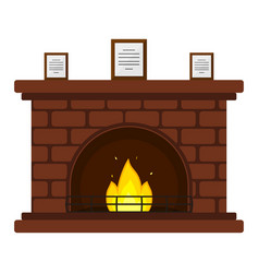 red brick fireplace vector image