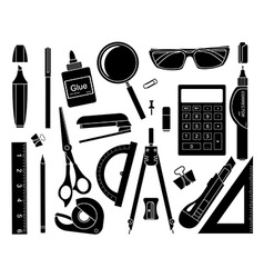 Set of stationery tools Black vector image