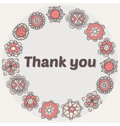 Thank you card with ethnic ornament Stylish floral vector image vector image
