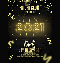 2021 happy new year party flyer vector image