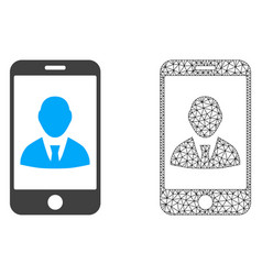 2d mesh mobile user profile and flat icon vector