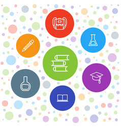 7 study icons vector image