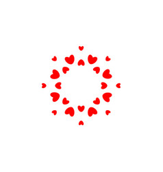 abstract love logo circle hearts frame vector image