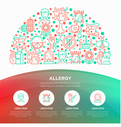 allergy concept in half circle with line icons vector image