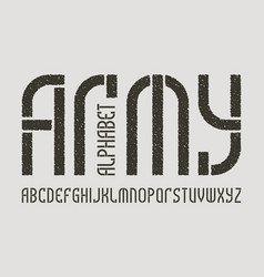 Army alphabet gaming stylized military font vector
