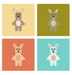 Assembly flat icons nature rabbit bunny vector