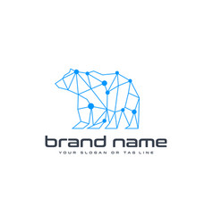 bear technology logo design template white vector image