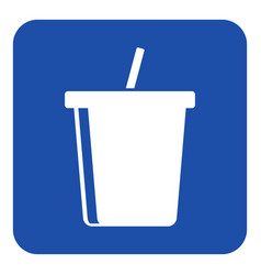 blue white info sign - cold drink with straw icon vector image