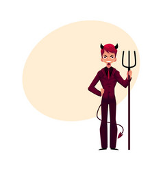 business man dressed as devil having horns tail vector image