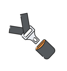 Car seat belt and lock icon vector