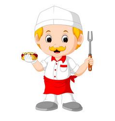 cartoon cute funny chef vector image