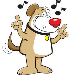 Cartoon dog with musical notes vector image