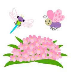 Cartoon dragonfly and butterfly flying under vector