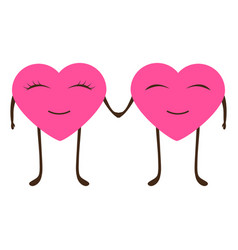 cartoon hearts man and woman on valentine s day vector image