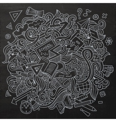 Cartoon sketchy doodles hand drawn school vector