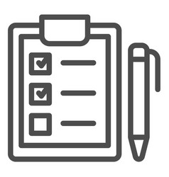 clipboard with pen line icon checkboard and pen vector image