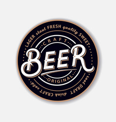 coaster for beerl with hand written lettering vector image