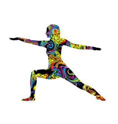 Colorful silhouette a woman in yoga posture vector