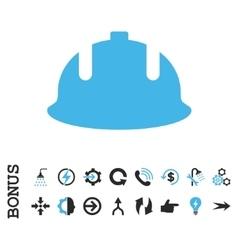 Construction Helmet Flat Icon With Bonus vector image