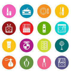 cosmetics icons many colors set vector image