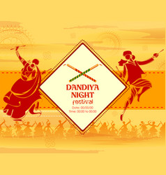 Couple playing dandiya in disco garba night banner vector