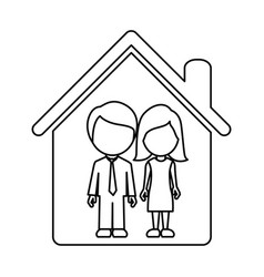 Couple together inside house vector
