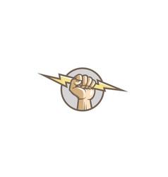 Creative fist hand thunder logo vector