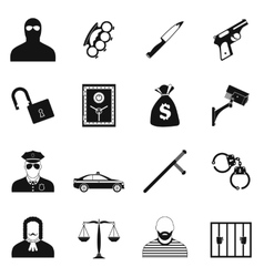Crime simple icons vector