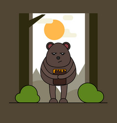 Cute bear with honey in cartoon style nature vector
