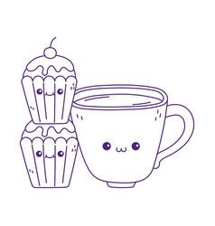 Cute coffee cup and cupcakes kawaii cartoon vector